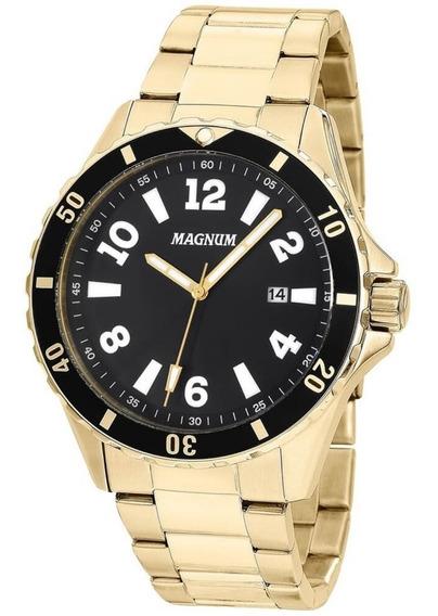 Relógio Magnum Masculino Dourado 100m Social Barato Ma35002u