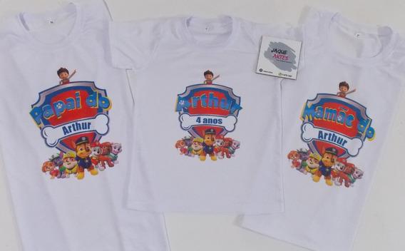 Camiseta Personalizada Patrulha Canina Kit Com 3 Camisetas