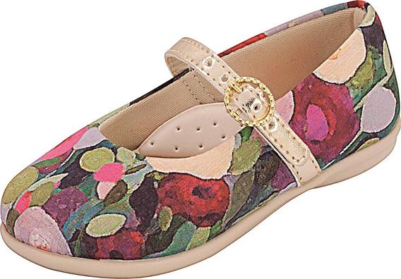 Sapatilha Menina Estampada Flores Plis Calçados 162