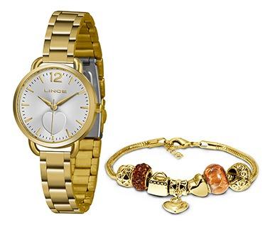 Kit Relógio Fem Lince Puls Aço 50m Ref. Lrgh120l-kx07s2kx