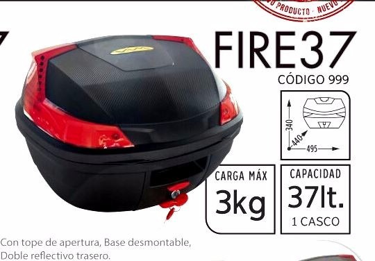 Baul Moto Portaequipaje Fire 37lts Doble Casco Motos Miguel