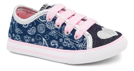 Tênis Feminino Infantil Coração Jeans Di09440