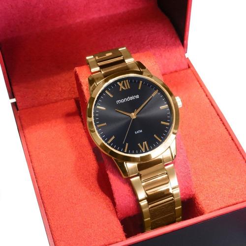 Relógio Mondaine Feminino Analógico Dourado Fundo Preto