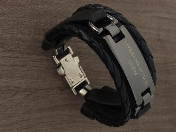 Pulseira Bracelete Livrai-me Do Mal Pulso Unissex Ajustável