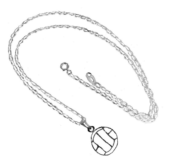 Envío Gratis Dije De Pelota De Voleibol Y Cadena Todo Plata