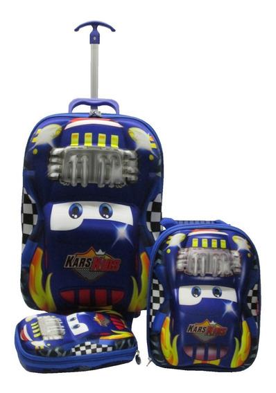 Mochila Rodinha Relâmpago 3d Infantil Azul Lancheira G Carro