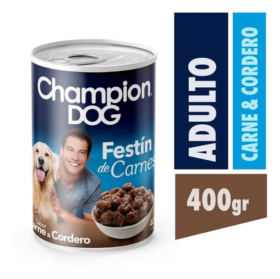 Alimento Perro Champion Dog Carne Y Cordero 24 Latas 400 Gr
