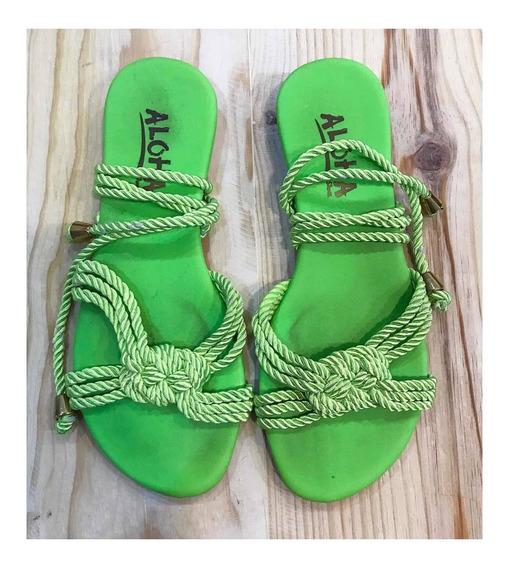 Sandália Rasteira Corda Amarração Verde Neon Aloha 39