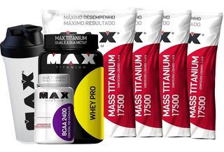 Combo Ganho Peso 4x Mass 17500 + Whey + Bcaa - Max Titanium