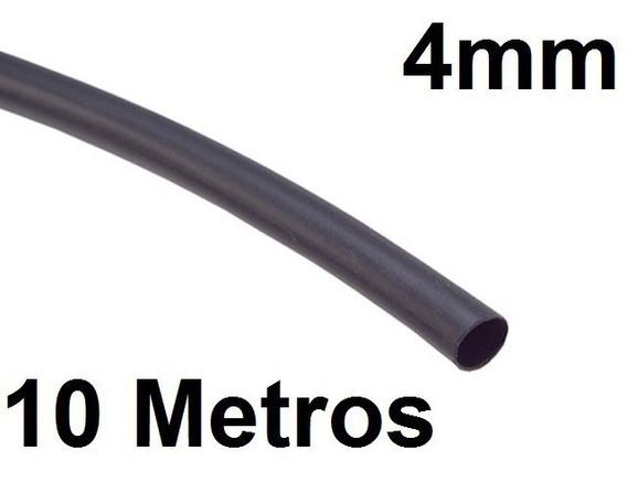 Espaguete/tubo Termo Retrátil Isolamento 4mm Preto 10 Metros