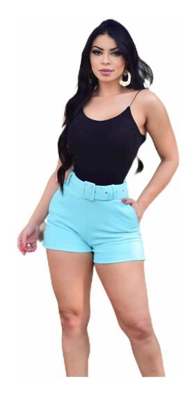 Short Feminino Cintura Alta Com Cinto E Bolsos Tecido Pop