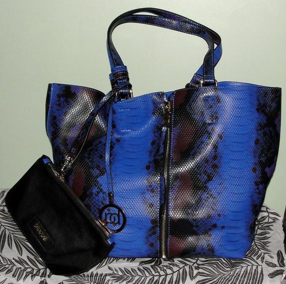 Cartera Bolso Blaque Azul Combinada C/monedero Divina!!
