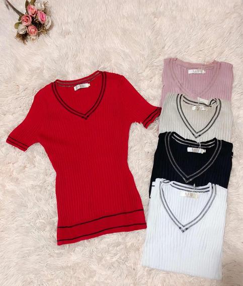 Blusa Camisa Feminino Gola V Liso De Trico Bem Elastano