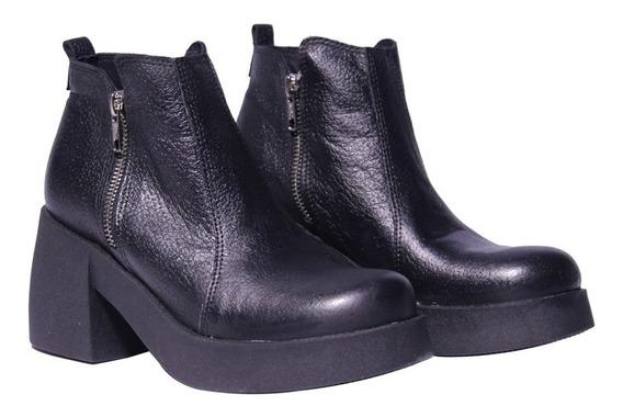 Botas Cortas Mujer Cuero Cierre Base Plataforma Baja Zapatos