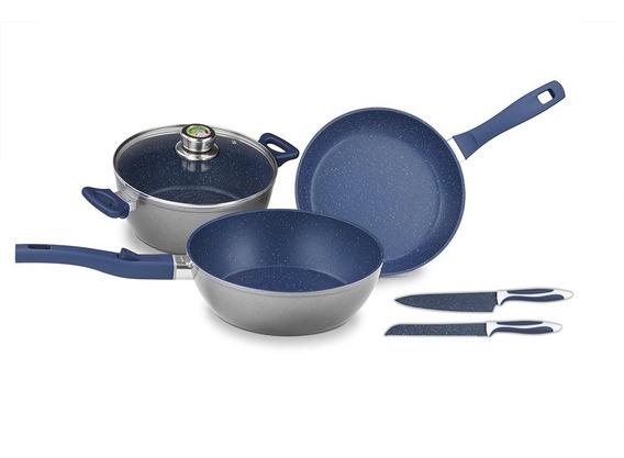 Batería Cocina Master Set Maya Blue 6 Pzas Flavor Stone