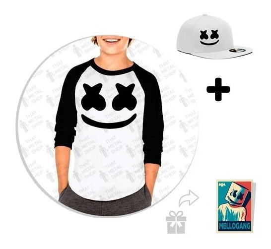 Kit De Playera Raglan Niño Marshmello + Snapback + Sticker