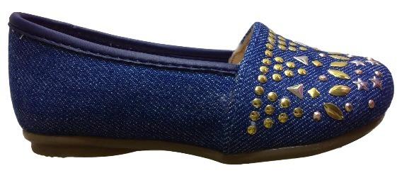Sapatilha Infantil Menina Detalhes Jeans Azul Baby 0239