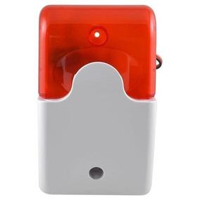 Sirene Alarme Mini Strobe Som Alto Luz Vermelha