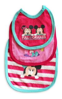 Set De 3 Baberos De Minnie Y Mickey Para Bebé Niña