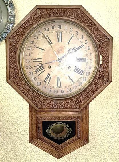 Relógio Antigo De Parede Original Ansonia Americano