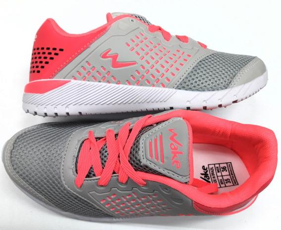 Zapatillas Mujer Wake Deportivas Correr Running 1823 Gris