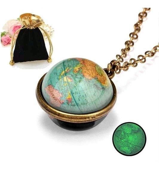 Colar Pingente Brilha Escuro Esfera Mapa Mundi Terra +brinde