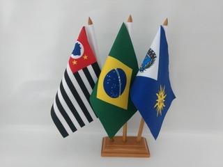 Brasil + São Paulo + Araraquara-sp Bandeiras De Mesa