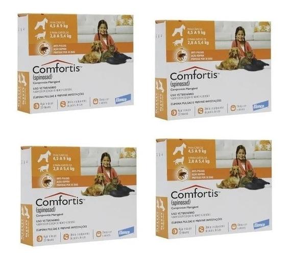 4 Antipulgas Comfortis Cães De 4,5 A 9 Kg E Gatos De 2,8kg A