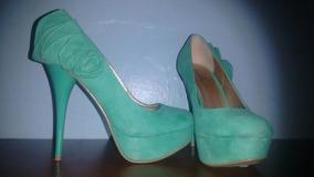 En Mercado Verde Aguamarina Sandalias Mujer Tacones Libre Zapatos TFJcK31l