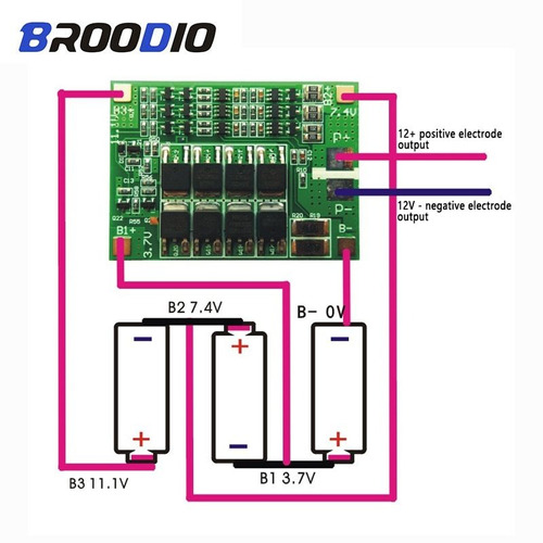 Placa De Protección De Batería De Litio 3s 40a Bms 11,1 V 12