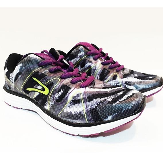 Zapatillas Mujer Negro Verde Rosa Violeta Dunlop Running