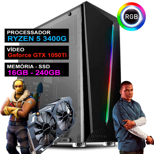 Pc Gamer Computador Completo Ryzen 5 Placa Geforce Gtx Ssd