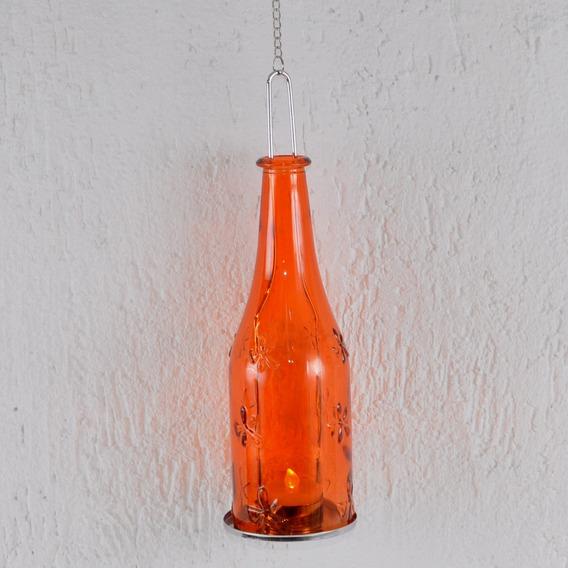 Lanterna Pendente Para Vela Formato Garrafa Vidro Laranja