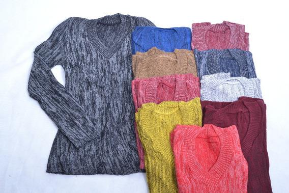 Kit 10 Blusa De Frio Feminino Suéter Tricot Gola V Inverno