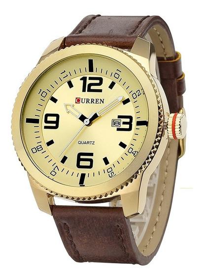 Relógio Masculino Couro Marrom Dourado Curren Analógico 8180