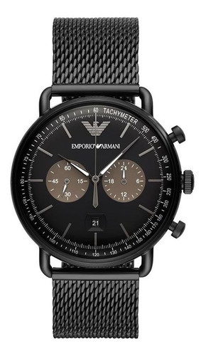 Relógio Masculino Empório Armani Aviator Preto - Original