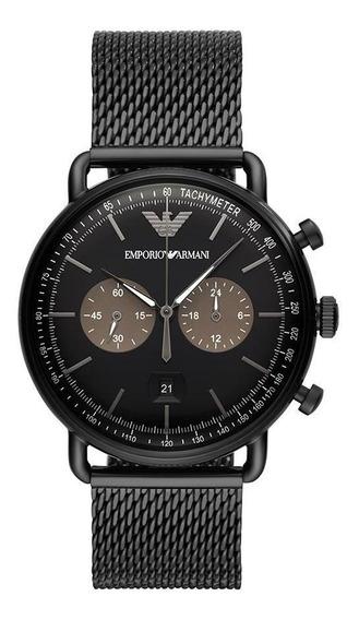 Relógio Empório Armani Masculino Aviator Preto Ar11142/1pn
