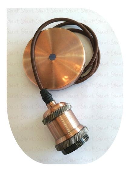 Pendente Soquete Vintage Retrô Edison Cromado + Tampa + Fio