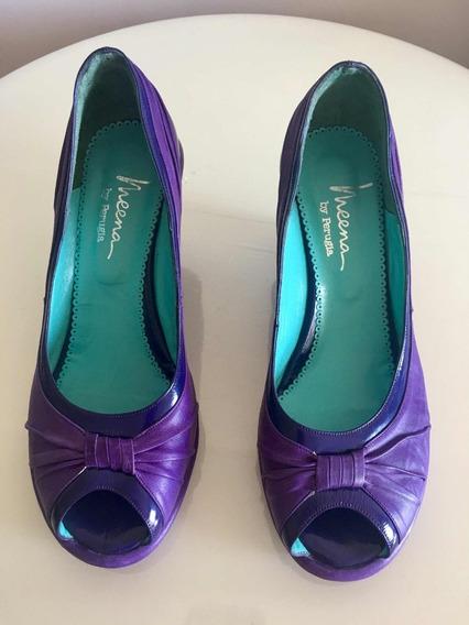 Zapatos De Cuero Y Charol Color Violeta Perugia T 40