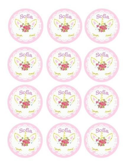 Unicornio Circulos Sticker Imprimibles Candy Bar Toppers