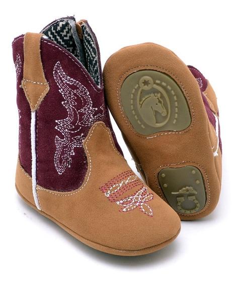 Bota Texana Infantil Bebezinho Camurça Feminina Peãozinha