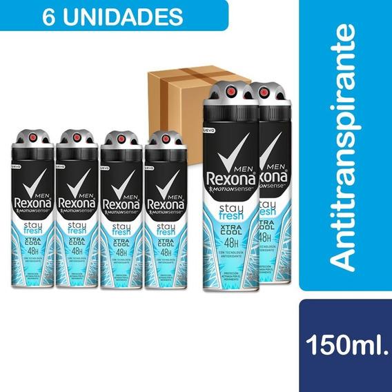 6 Desodorantes Rexona Men Xtracool Spray 150 Ml
