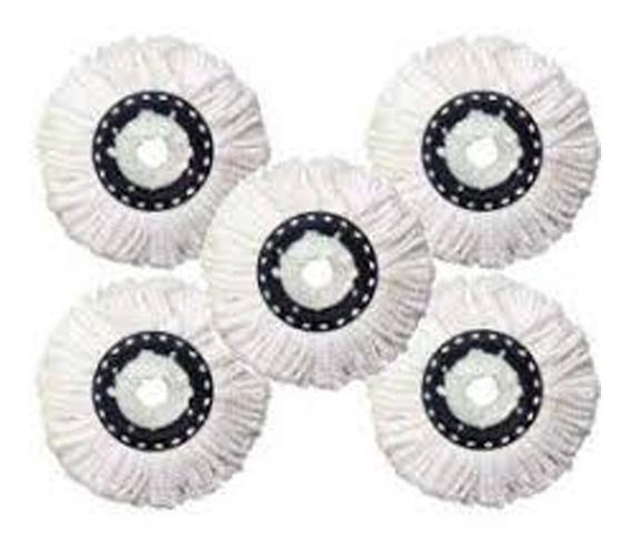 5 Refil De Microfibra Universal Para Balde Spin Mop Esfregão