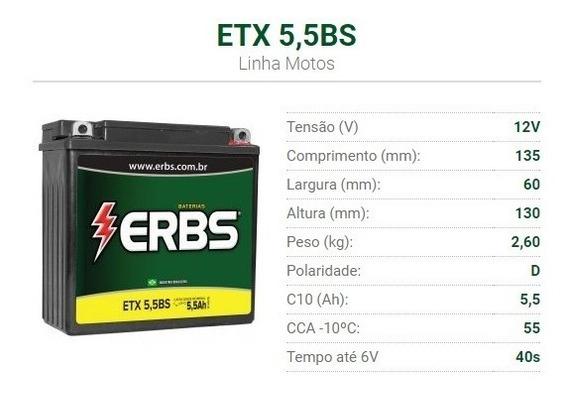 Bateria Moto Selada Yamaha Ybr 125 E/ K / D 5,5 Ah 12 Volts