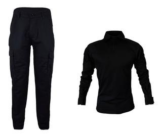 Farda Masculina Preta Camisa Combat Shirt + Calça Tática