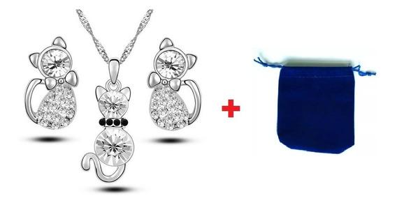 Dije Collar Y Aretes Gatos Cristal Swarov Elements Regalo