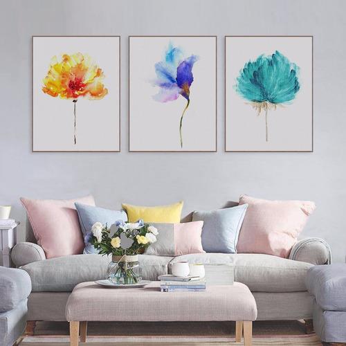3 Quadros Pintura Flores Pintado Á Mão - 50x70 - Lindos