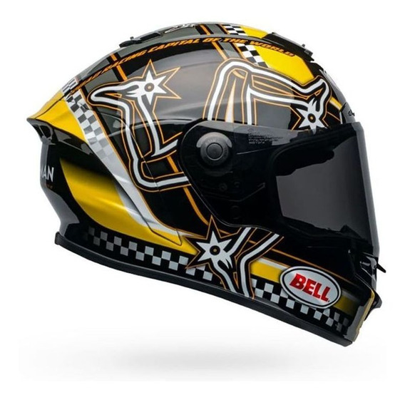 Capacete Bell Star Dlx Mips Isle Of Man Preto/amarelo Rs1