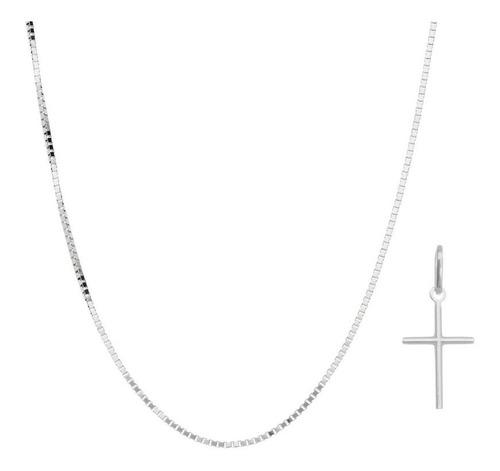 Imagem 1 de 5 de Corrente Masculino Prata Maciça 925 Cordão 70cm + Ping Cruz