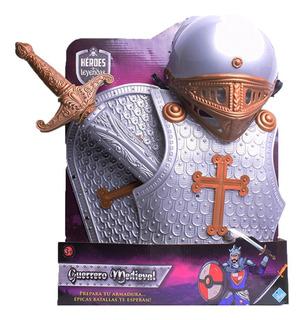 Set De Guerrero Medieval Pechera Casco Escudo Y Espada 7055